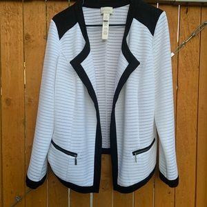 CHICO'S Women's White/Black Knit Cardigan Sweater